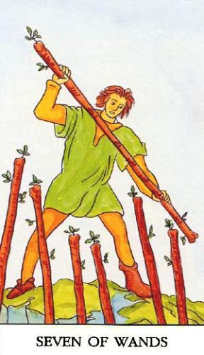 Značenje tarot karte Sedmica štapova