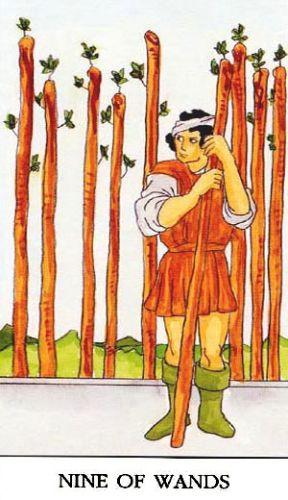 Značenje tarot karte Devetka štapova