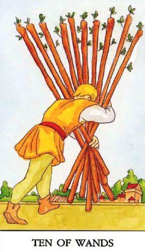 Značenje tarot karte Desetka štapova