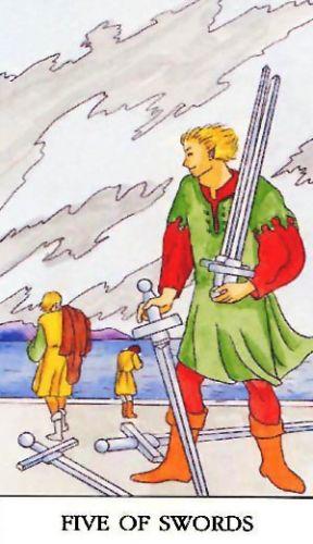Značenje tarot karte Petica mačeva