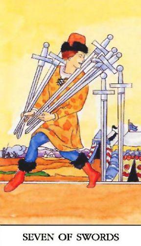 Značenje tarot karte Sedmica mačeva