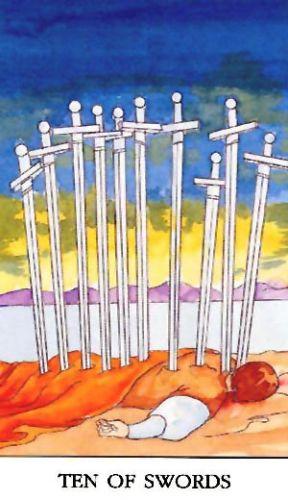 Značenje tarot karte Desetka mačeva