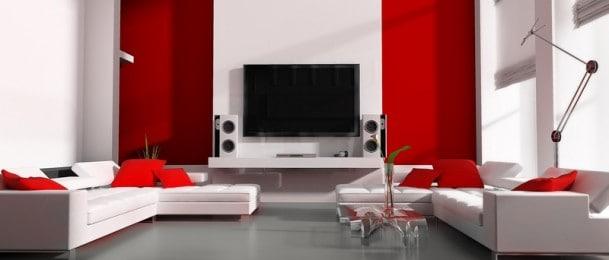 Namještaj, televizori i glazbene linije u dnevnoj sobi